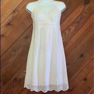 ModCloth Ixia White V-Neck Eyelet Party Dress